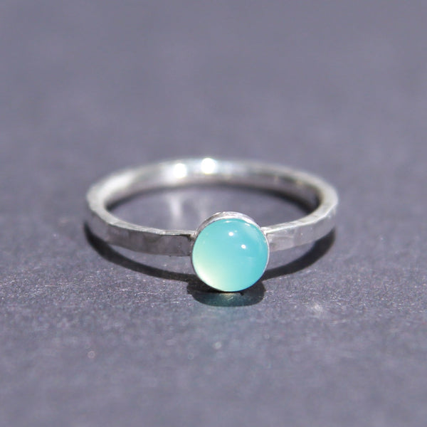 Satellite Ring in Blue Chalcedony