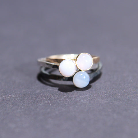 Satellite Ring in Blue Lace Agate