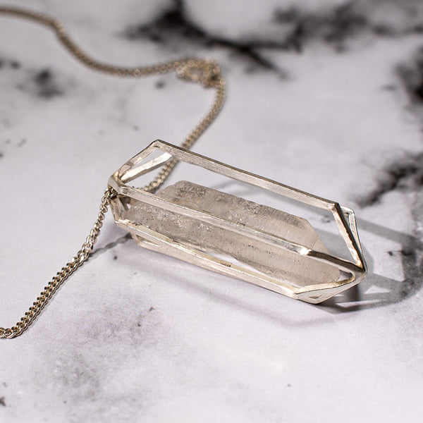 silver crystal cage necklace