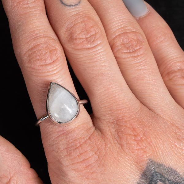 Teardrop Moonstone Ring Size T/U