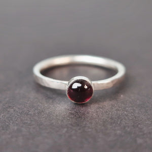 garnet sterling silver stacking ring jewellery meaning UK