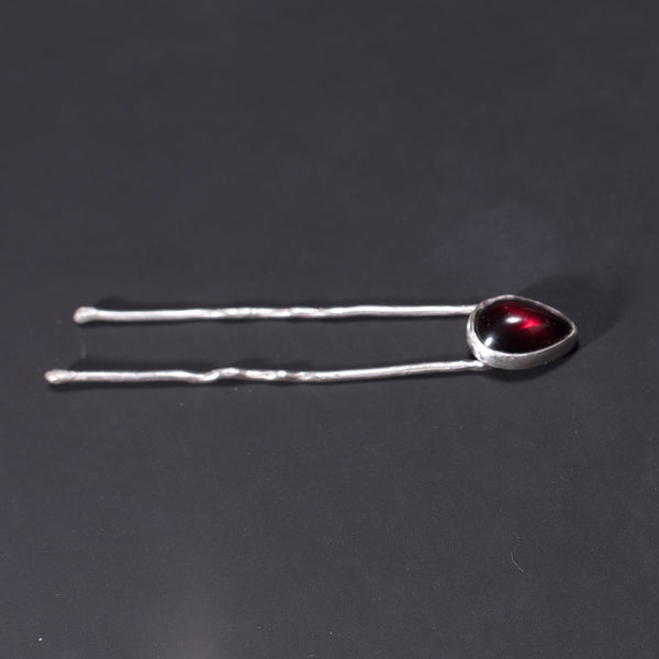 Pomegranate Seed Sterling Silver Hair Pin in Garnet