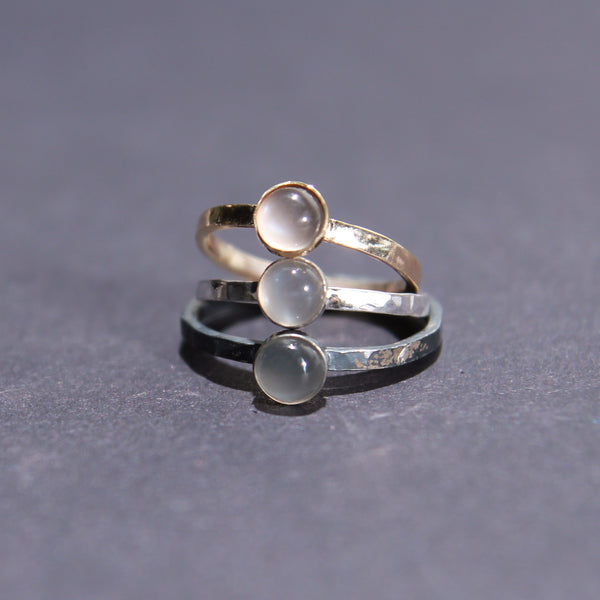 Satellite Ring in Grey Moonstone