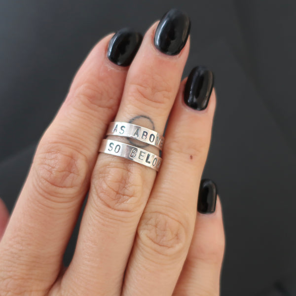 witch aesthetic stacking rings, witchy jewellery