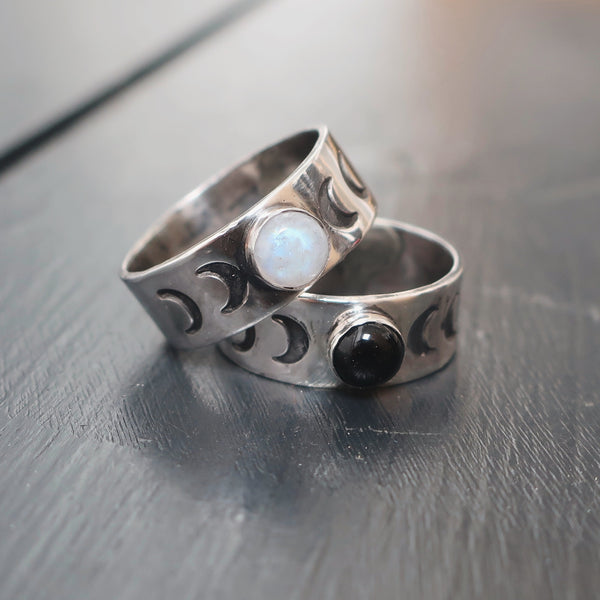 'The Full Rainbow Moon' Sterling Silver and Moonstone Ring