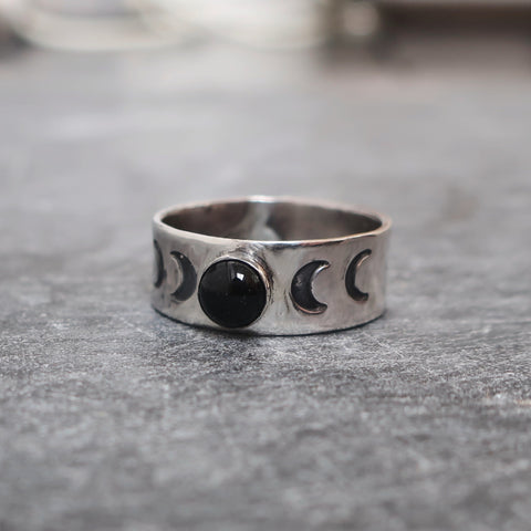 'The Dark Moon Rising' Sterling Silver and Onyx Ring