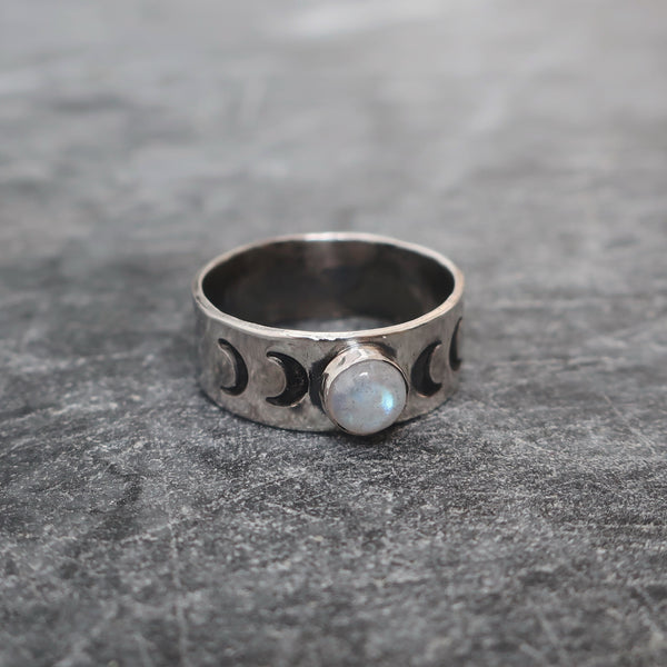 The Full Rainbow Moon Sterling silver ring with stamped phases of the moon