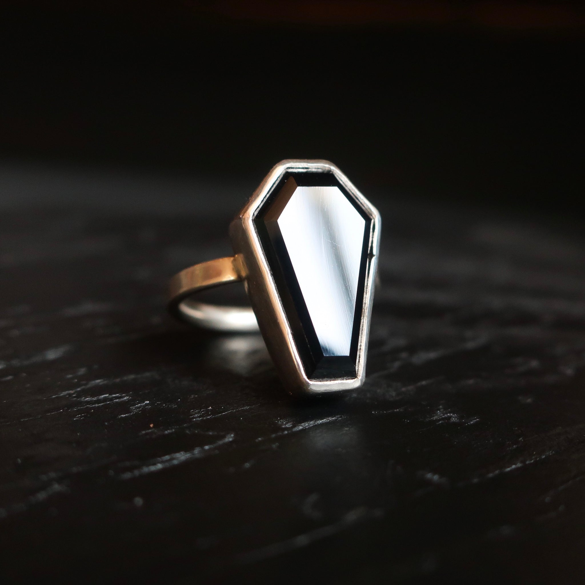 Death Becomes Us - Coffin Shaped Onyx Ring