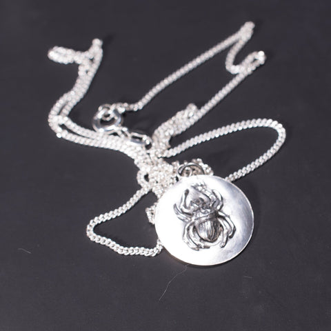 Gothic Spider Disc Necklace Obol in Sterling Silver