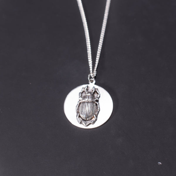 Beetle Sterling Silver Obol disc necklace by bonearrow  jewellery UK