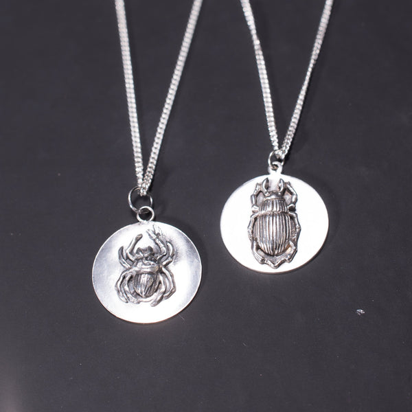 Gothic Disc Necklace Obol in Sterling Silver