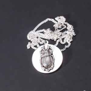 Beetle disc necklace by bonearrow  jewellery UK