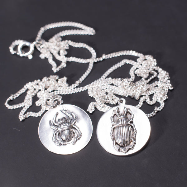 Gothic Insect Disc Necklace Obol in Sterling Silver