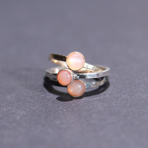Satellite Ring in Peach Moonstone