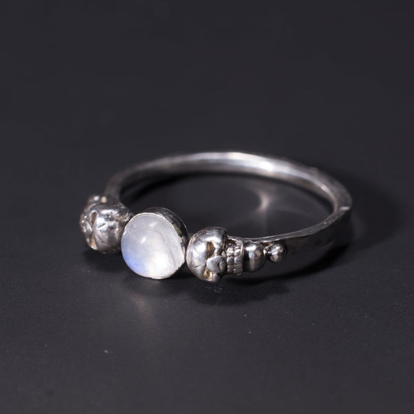 Gothic skull moonstone ring for women UK