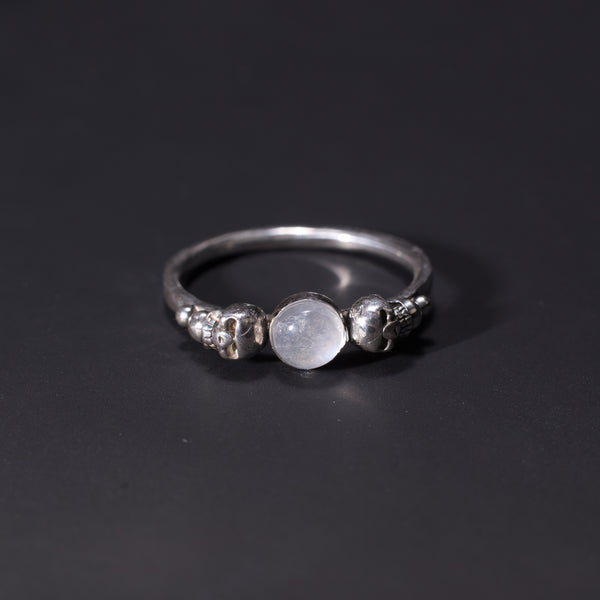 Sterling silver Gothic skull moonstone ring