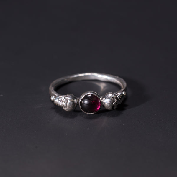 Garnet and skull sterling silver handmade ring