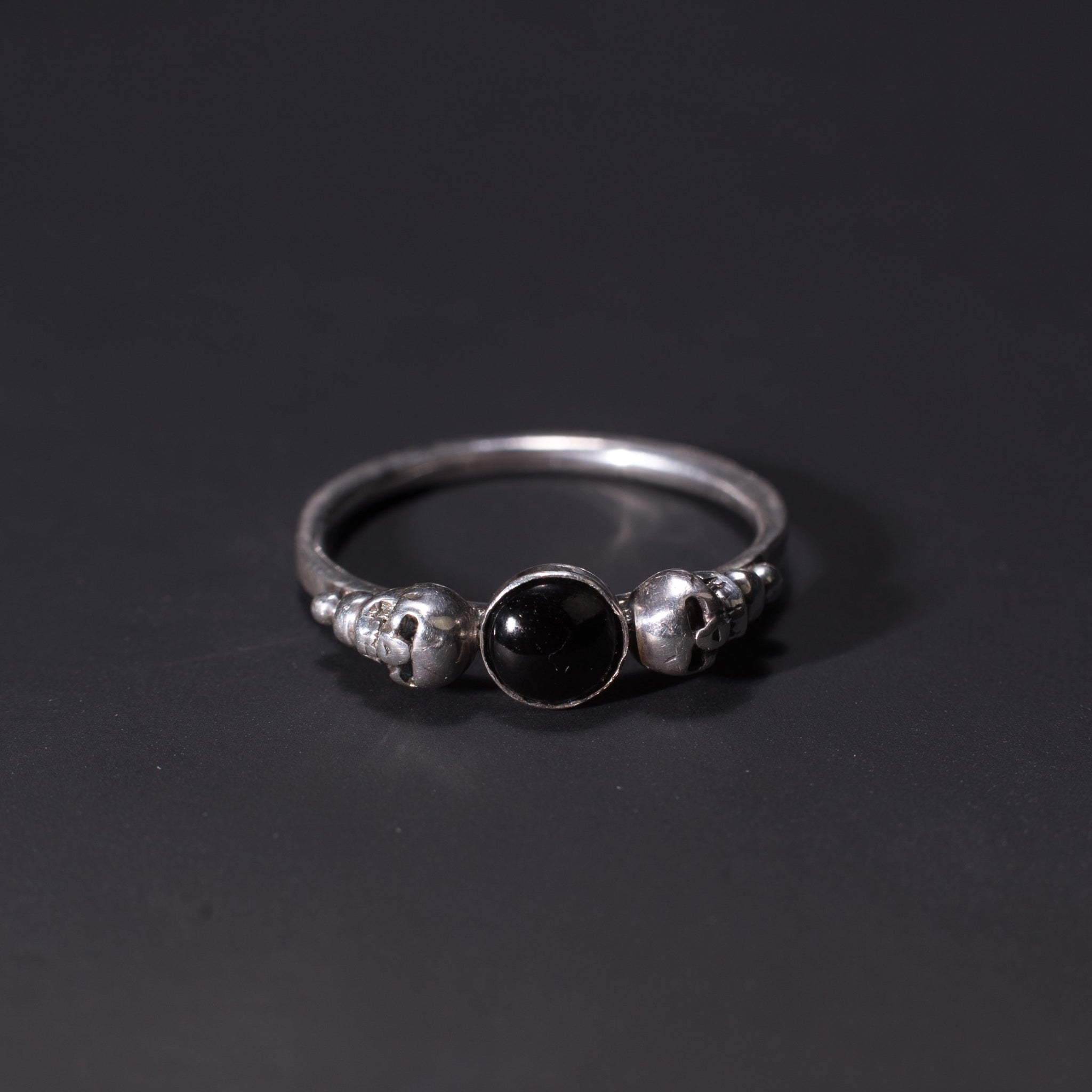 gothic skull ring in whitby jet and sterling silver
