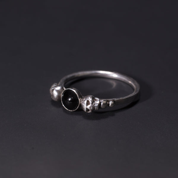 sterling silver grown up goth ring in whitby jet with skulls