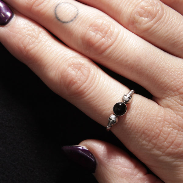 delicate and pretty gothic sterling silver ring in whitby jet