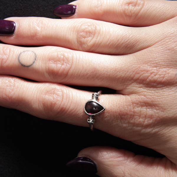 Garnet and sterling silver skulls goth aesthetic jewellery