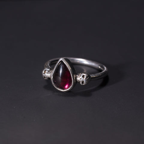 Garnet and sterling silver skulls gothic ring