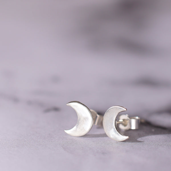 cute tiny sterling silver moon studs