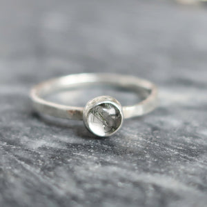 Satellite Ring in Tourmalinated Quartz