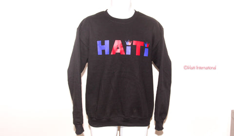 "BLACK ""HAITI"" CREWNECK SWEATER"