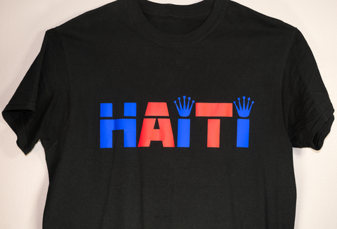 BLUE AND RED HAITI T-SHIRT BLACK