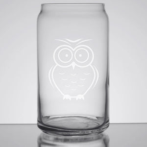 Owl Glass Can