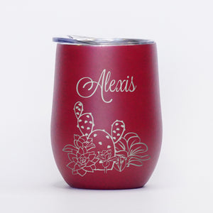 Personalized Succulents - 12oz Wine Tumbler