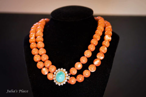Vintage corals, turquoise and diamonds necklace