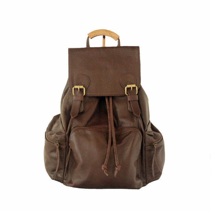 Berry Large Rucksack Backpack Leather, Antique Brown | MYLIORA.COM