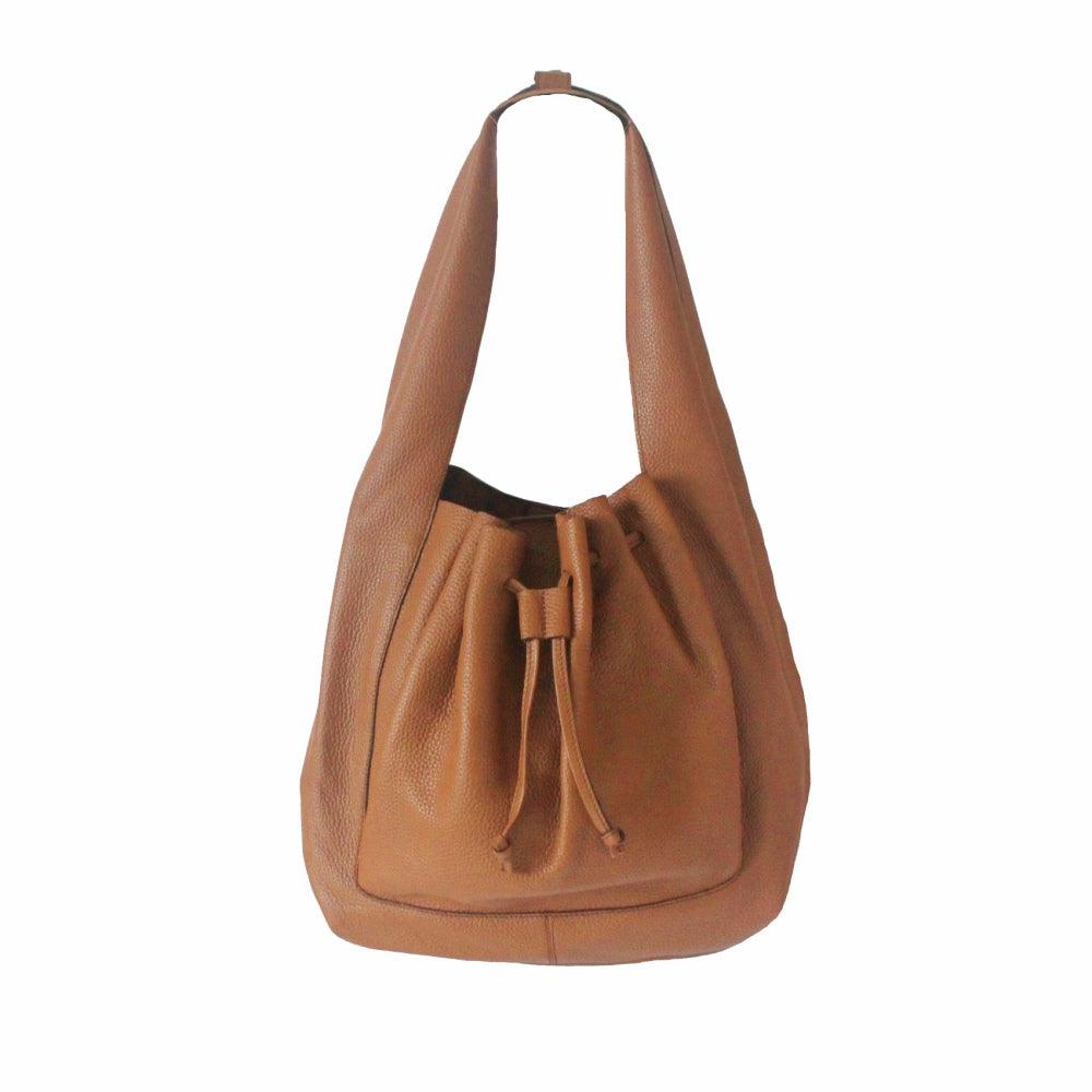 Hobo Leather Bag in Tan Brown | Myliora.com