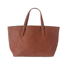 Brown Woven Leather Large Tote Bag | MYLIORA.COM