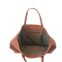 Brown Woven Leather Large Bag | myliora.com