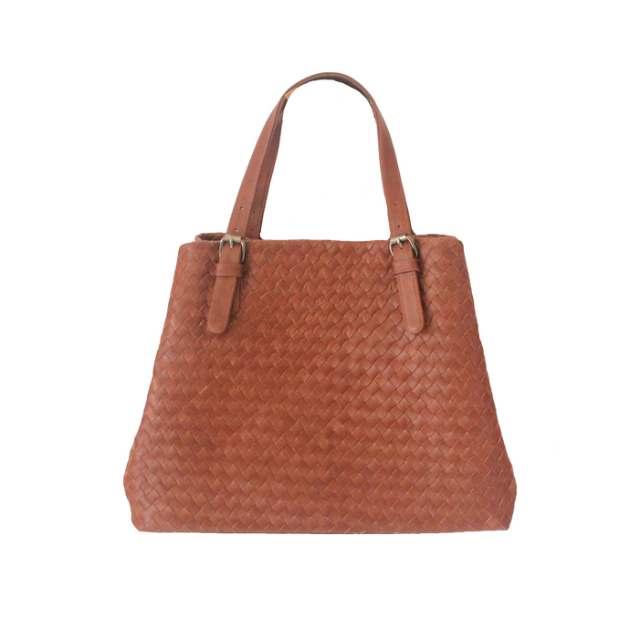 Woven Leather Large Tote Handbag, Brown | Myliora.com