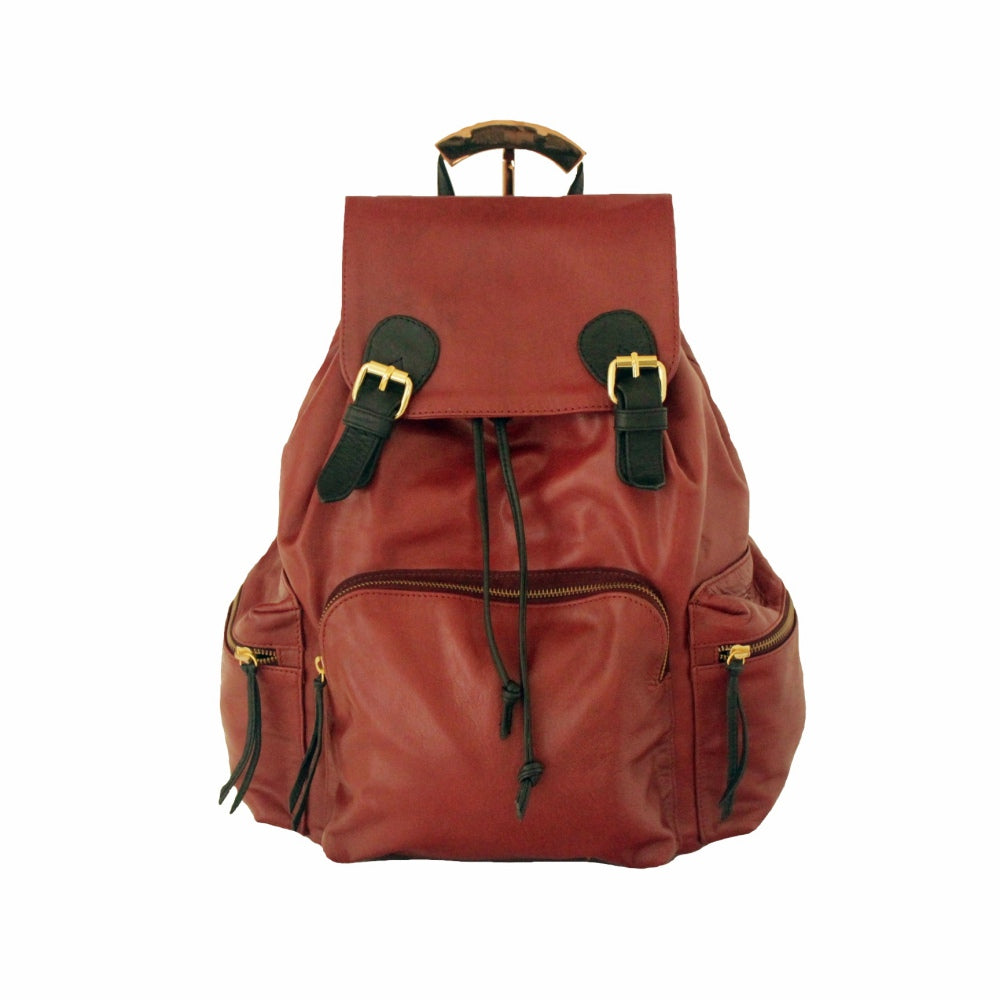 Large Rucksack Backpack Leather, Maroon | MYLIORA.COM
