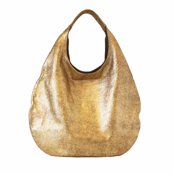 City Hobo Leather Bags in Crackled Gold | MYLIORA.COM