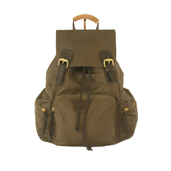 Large Rucksack Backpack Leather in Khaki | MYLIORA.COM