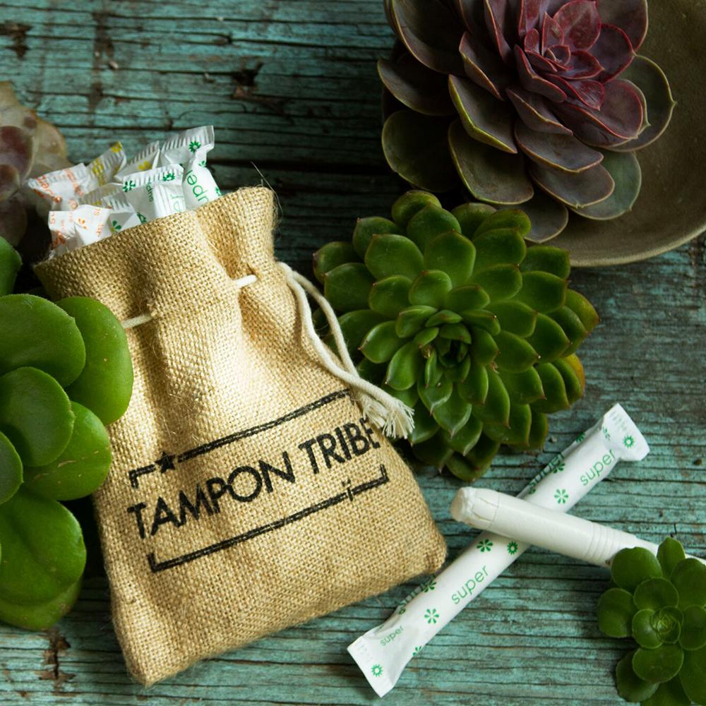 Tampon Tribe Organic Cotton Tampons With Biodegradable Applicator, Super