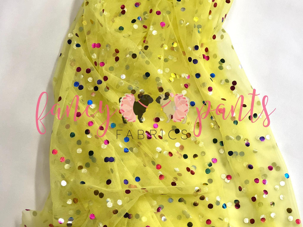 Yellow Rainbow Confetti Dot Mesh