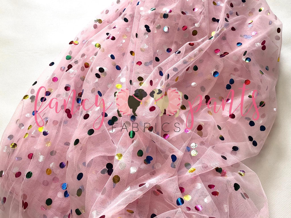 Pink Lemonade Rainbow Confetti Dot Mesh