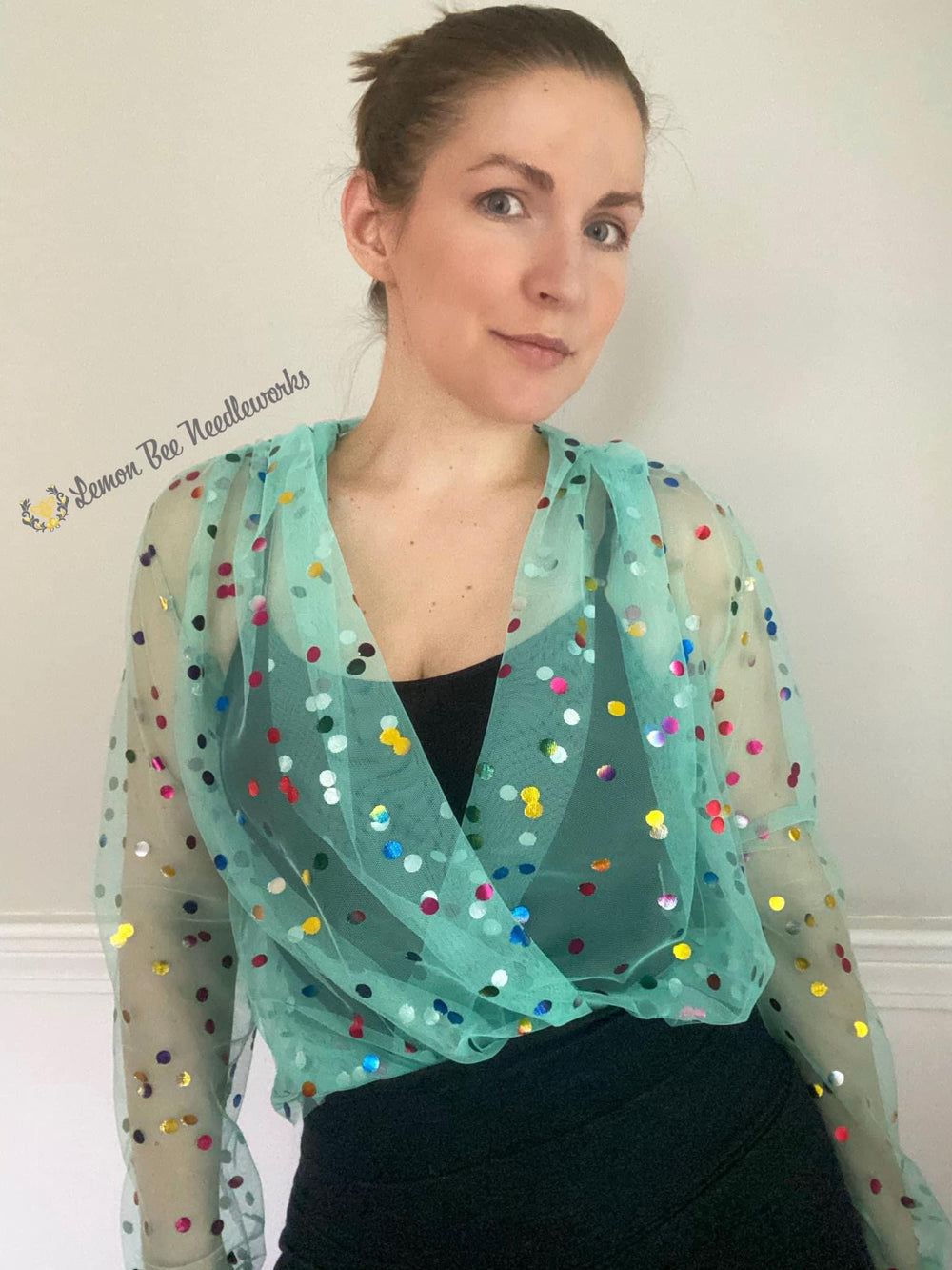 Mint Rainbow Confetti Dot Mesh