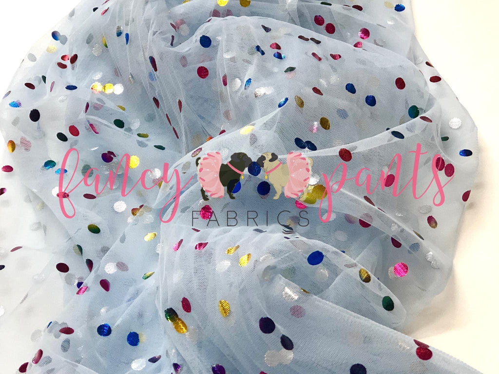 Powder Blue Rainbow Confetti Dot Mesh