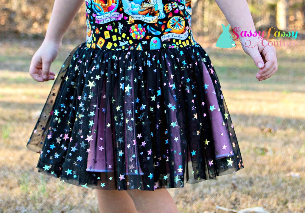 Pastel Rainbow Stars on Black Mesh