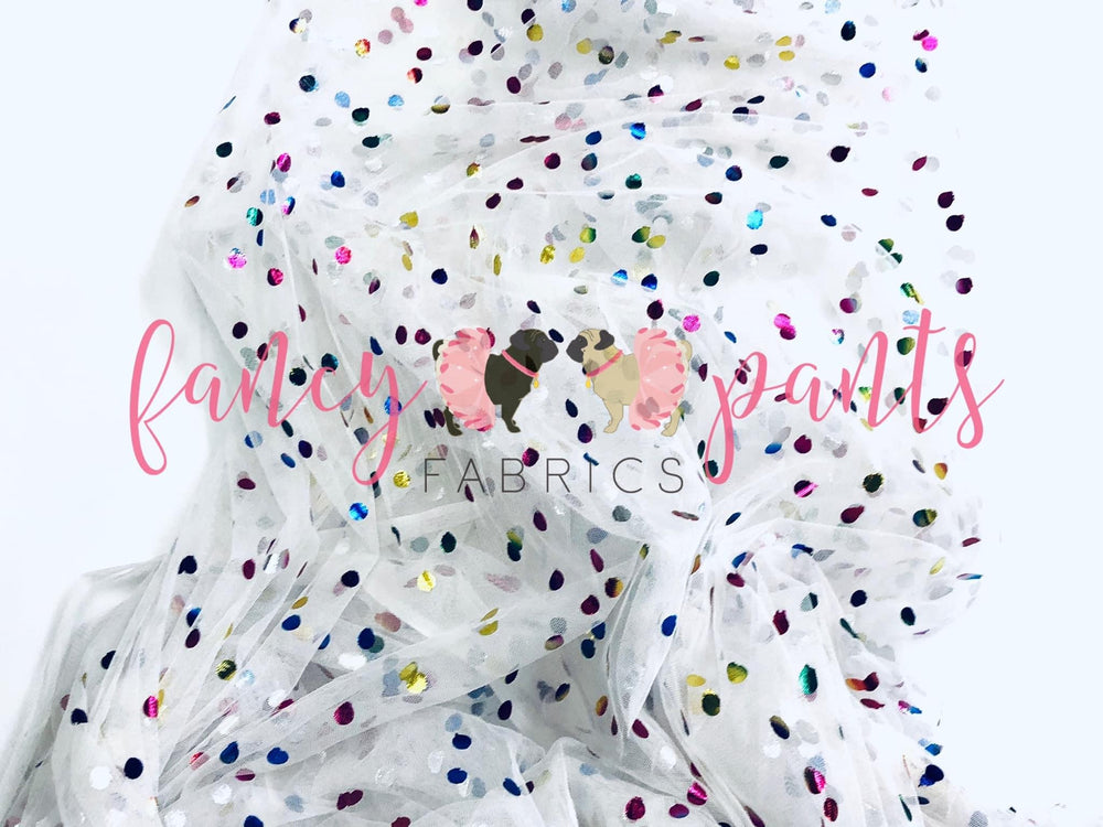 White Rainbow Confetti Dot Mesh