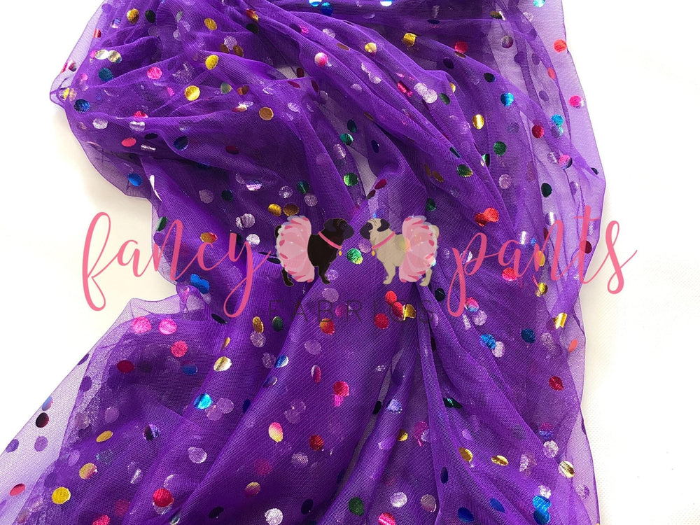 Grape Rainbow Confetti Dot Mesh