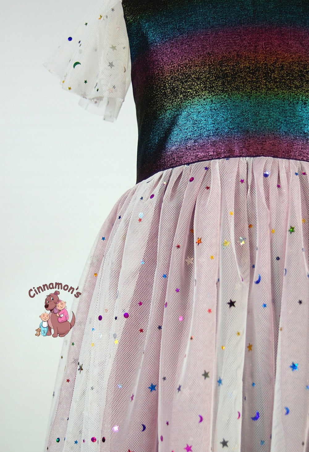 Multi Color Stars and Moons Sequin Mesh